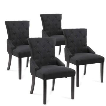 Chaise de Salle à Manger - Lot de 2/4, Couleurs au Choix - Design Retro, Revêtement Tissu, Pied en Bois - Fauteuil, Cuisine,Salon