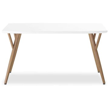 INTENSEDECO Table Style scandinave Mya Blanc - 4 à 6 Personnes