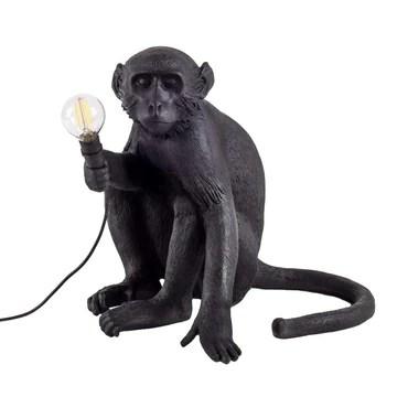 Lampe de table Singe en résine 34 * 30 * 42cm (Couleur : NOIR)