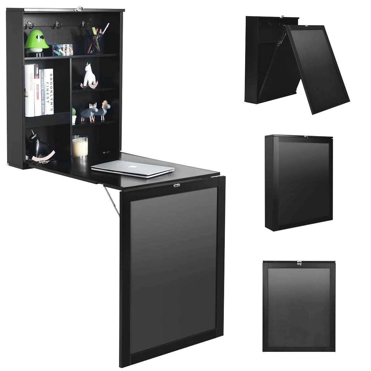 costway table murale rabattable pliable avec etagere integree et tableau noir en mdf 75 x 15 8 x 60 1cm gain de place ideal pour salon salle a