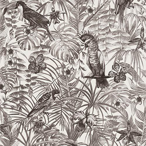 Papier peint perroquet noir & blanc 372105 | Papier peint noir et blanc 37210-5 | Papier peint jungle intissé vinyle | Papier peint salon & chambre