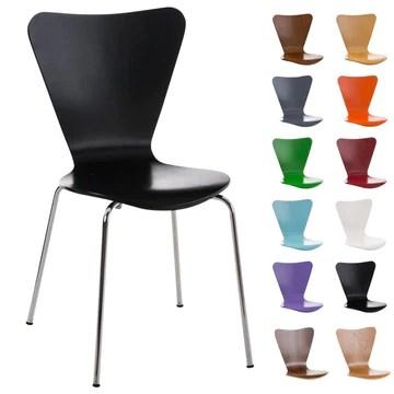 CLP Chaise Empilable Calisto en Bois - Assise Ergonomique - Chaise de Salle d'Attente en Bois Chaise, Hauteur Assise 45 cm -Couleurs au Choix: Noir