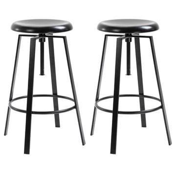 IDIMEX Lot de 2 tabourets de Bar BATILDA Chaise Haute pour Cuisine ou comptoir avec Assise réglable en Hauteur Style bistrot Design Retro Industriel, en métal laqué Noir