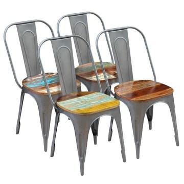 Festnight Lot de 4 Chaises de Salle à Manger Style Industriel avec Assise en Bois