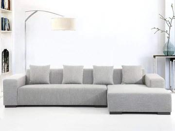 Canapé d'angle - canapé en Tissu Gris Clair - Lungo (G)