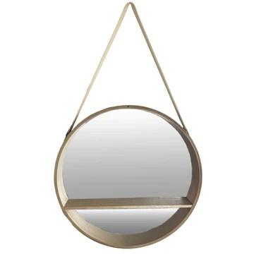 Finehome Miroir Mural Rond de qualité supérieure avec Compartiment de Rangement en Bois Ø 40 cm
