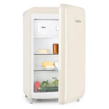 Klarstein PopArt Cream - réfrigérateur, pose libre, années 50, 108 l, congél. 13 l, rapide, compartiment légumes, 2 x clayettes, porte bouteilles, bac à oeufs, porte vers la droite, crème