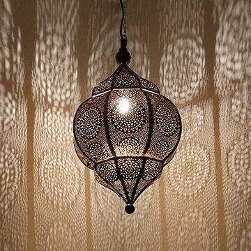 albena shop 71-5310 Abha lampe de plafond oriental style morocain H 45 cm / ø 27 cm métal noir / intérieur or
