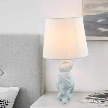 OUHUI Lampe De Table Lapin Animal Tissu Lampe Lampe De Chevet Vintage Lampe De Lit Lampe De Chevet Décorative Lampe De Nuit Chambre De Résine Chambre D'enfant Lampe[classe énergétique A]