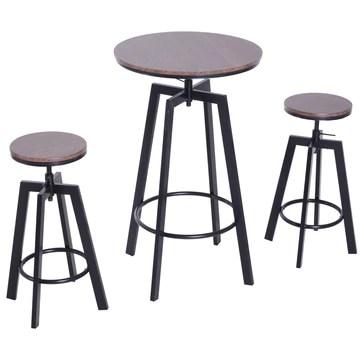 Homcom Ensemble Table de Bar Design Industriel + 2 tabourets Hauteur réglable MDF Coloris Bois Noyer Acier Noir