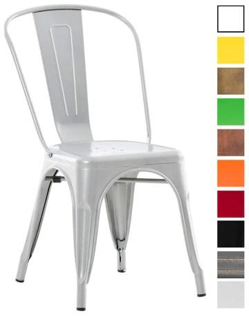 CLP Chaise Empilable en métal Belgrad - Chaise avec Dossier Haut Pieds avec Patins de Protection - Hauteur Assise 46 cm - Chaise de Cuisine Argent