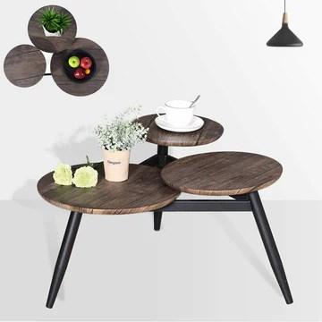 Aingoo Petite Table Basse avec 3 Dessus de Style Industriel Tables Gigognes Tables D'appoint en MDF avec Pieds en Métal, Marron