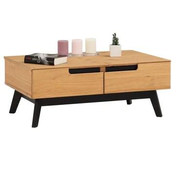 IDIMEX Table Basse Tibor Style scandinave Design Vintage Nordique Table de Salon rectangulaire avec 2 tiroirs et 2 niches, en pin Massif Finition Bois Naturel teinté