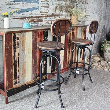 IKAYAA Lot de 2 Tabouret de Bar de Hauteur Réglable Vintage en Bois Tabouret de Salle a Manger Style Industriel Pinewood Haut + Métal avec Sac à Dos