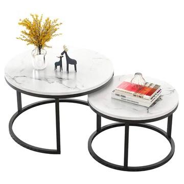 Rond Ensemble de 2 Table gigogne café Les Tables avec Cadre en métal Noir