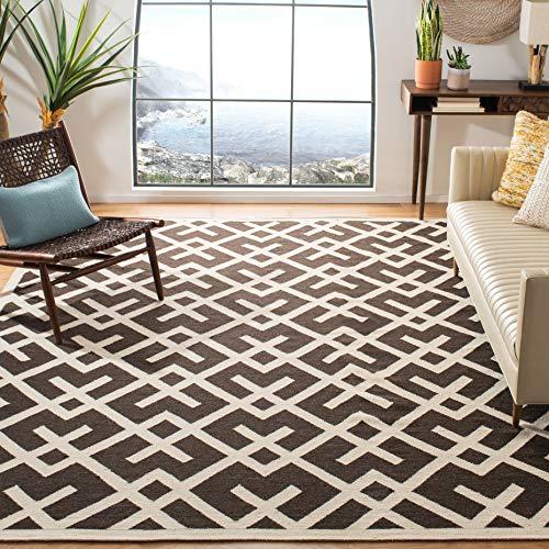 safavieh dhurrie tapis tapis tisse a plat la laine en marron ivoire 200 x 300 cm