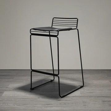 Tabouret de bar en fil de fer barbelé/Chaise haute nordique (Couleur : NOIR)