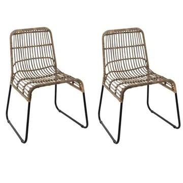 INSIDE Lot de 2 chaises scandinave Balla en rotin piétement Noir