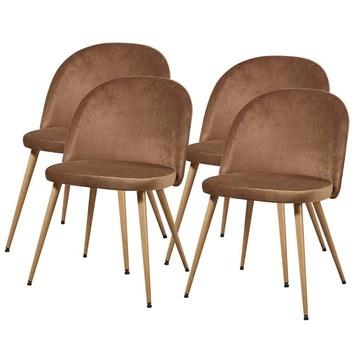Chaise de Séjour Scandinave velours,Taupe, 47cm x 77cm x 50cm, Lot de 4