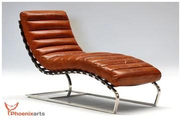 Phoenixarts Chaise Vintage en Cuir en Cuir véritable Injoy Chaise Longue Design Recamiere pour Fauteuil Chaise Longue Fauteuil en Cuir Neuf 536