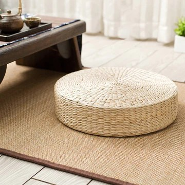 Tapis de pouf de sol, fabriqué à la main, respectueux de l'environnement, rembourré en paille tricotée