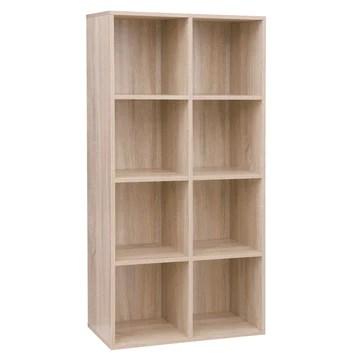 VASAGLE Bibliothèque en bois, Étagère à 4 Niveaux, 8 Compartiments, Armoire, Placard, Maison, Bureau, Couleur chêne clair LBC24NL