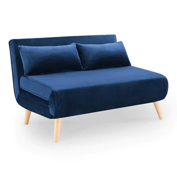 DecoInParis Banquette Convertible 2 Places en Velours Tonka (Bleu)