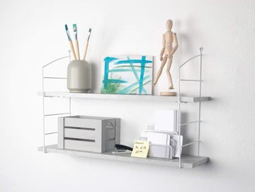 Element System Wire & Wood Set d'étagères rétro avec 2 étagères en bois Aspect béton