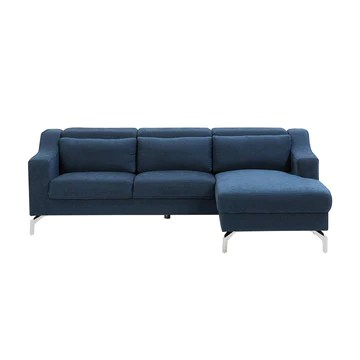 Canapé d'angle en Velours Bleu Marine GLOSLI