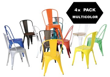 F&T Chaises en métal de Style Industriel-Chic Package DE 4 Pieces Tolix Design Couleurs Mixtes