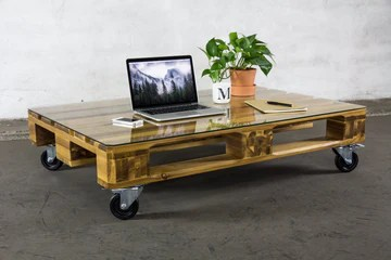 Ikone Table Basse en Bois d'acacia de Haute qualité avec Plateau en Verre et roulettes (Transparent)