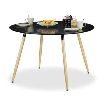 Relaxdays Table à manger ronde ARVID style scandinave 6 - 8 personnes HxD: 75 x 120 cm en bois, noir