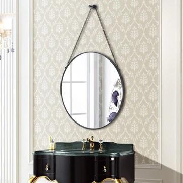 Nugoo Miroir Mural Rond en métal avec chaîne Suspendue, Miroir décoratif pour Chambre à Coucher, Salon et Salle de Bain Noir 20 cm