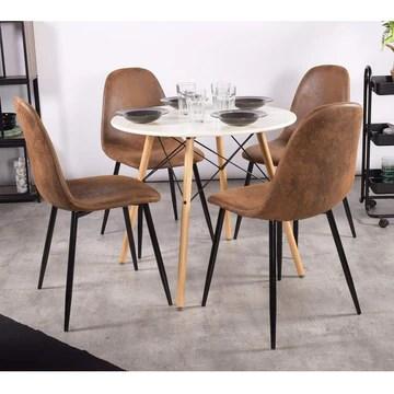 LeMonde Chaise de Salle à Manger Lot de 4 Chaises Salle à Manger Chaises de Cuisine Vintage en Suede Cuir Brun