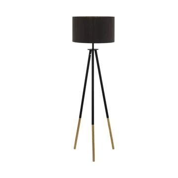 EGLO 49148 Lampe sur Pied, Acier, Textile, E27, 60 W, Noir, Bois