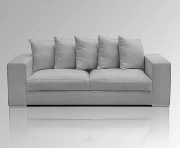 Amaris Elements | 'Cooper' Moderne de 3 Places Coussin de canapé avec 5, Effet Velours, 100% Microfibre, Basse, Clair/Gris - 3 Basse Style Maison de Campagne