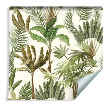 Muralo Papier Peint Feuilles Exotiques Vintage Vinyle Feuillu Moderne Végétation - 239314990