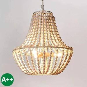 Lustre 'Juliette' à intensité variable en Blanc en Bois e. a. pour Salon & Salle à manger (à 3 lampes, E14, A++) de Lampenwelt   Suspension, suspension, lustre, lampe, plafonnier, plafonnier