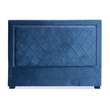 Menzzo Meghan Tête de lit, Velours, Bleu, 160x120x9 cm