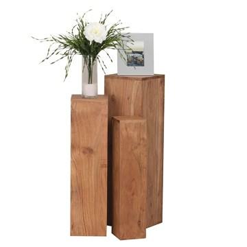 FineBuy Tables gigognes Ensemble Trois pièces Bois Massif Acacia 24,5 x 85 x 24,5 cm | Table d'appoint Style Maison de Campagne | Meubles en Bois Table Basse | Table de Salon colonnes décoratives