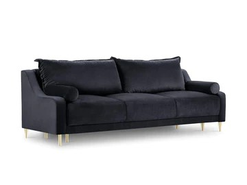 Milo Interiors Velvet Sofa with Bed Function and Box, Zora, 3 Seats, Dark Blue, 215x94x90
