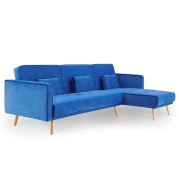 ANA - Canapé d'angle en Tissu Velours Bleu Convertible Modulable Angle Réversible