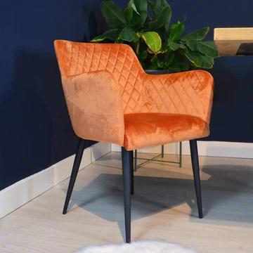 Damiware Rose Chaise avec Accoudoir | Salle à Manger Confort Revêtement en Tissu (Velours Orange)