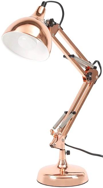 BRUBAKER - LAMPE DE BUREAU/DE TABLE - BRAS ARTICULÉ RÉGLABLE - DESIGN INDUSTRIEL/CLASSIQUE - MÉTAL - HAUTEUR JUSQU'À 53 CM - CUIVRÉ
