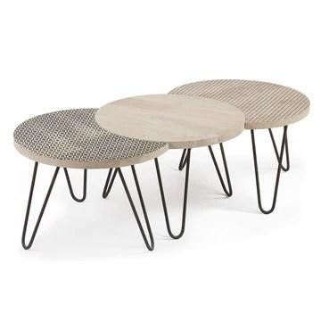Kave Home - Set Houp de 3 Tables en Bois avec Pieds en Acier