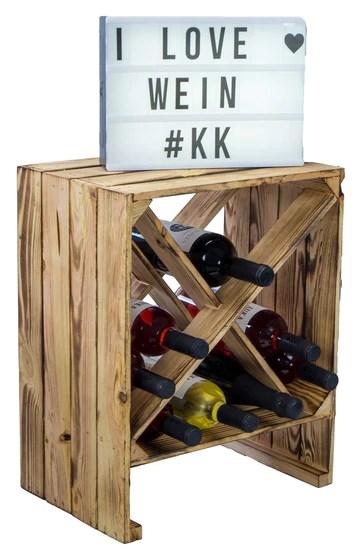 Kistenkolli Altes Land Étagère à vin Blanc/naturel 50 x 40 x 27 cm Caisse pour pommes Rangement de bouteilles Rangement pour journaux