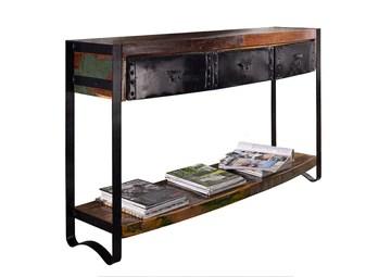 Console - Fer et bois massif recyclé laqué (multicolore) - INDUSTRIAL #42