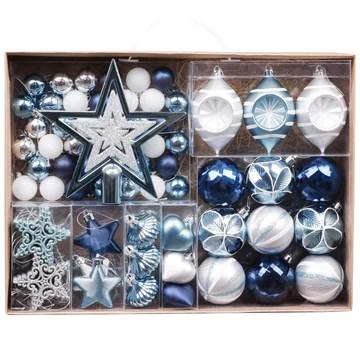 Valery Madelyn 70pcs Boules de Noël Ornements 3-6cm, décoration de Boules de Noël incassables en Plastique Bleu et Argent, Cadeaux de pendentifs de Sapin de Noël (souhaits d'hiver)