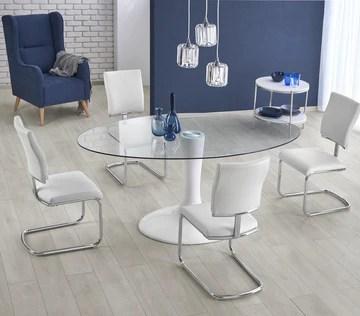 Table A Manger Ovale - L : 180 CM X P : 100 CM X H : 76 CM - Blanc/Transparent