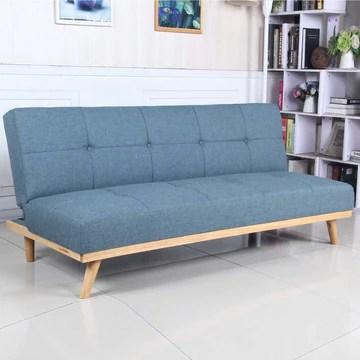 marcKonfort Canape lit Clic Clac 3 Places RIMEN Bleu tapissé en tisu 100% Polyester, Pieds en Bois